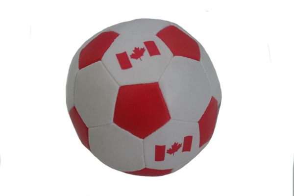"""CANADA RED COUNTRY FLAG SOFT MINI 4"""" INCHES SOCCER BALL .. NEW AND IN A PACKAGE"""
