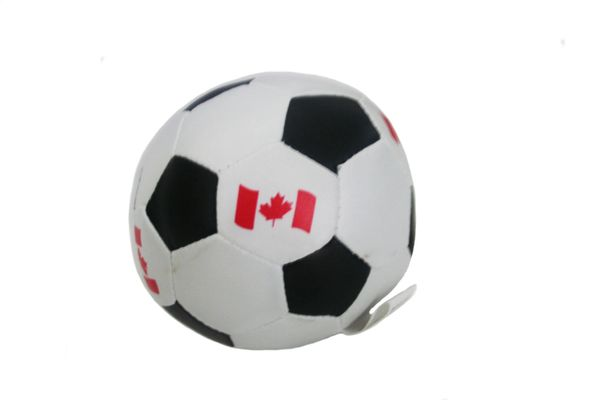 """CANADA BLACK COUNTRY FLAG SOFT MINI 4"""" INCHES SOCCER BALL .. NEW AND IN A PACKAGE"""