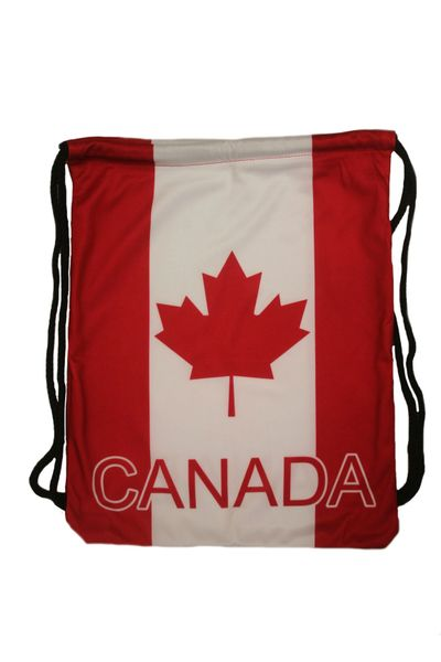 """CANADA COUNTRY FLAG DRAWSTRING KNAPSACK BAG ..SIZE : 14"""" X 8"""" INCHES .. NEW AND IN A PACKAGE"""