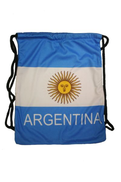 """ARGENTINA COUNTRY FLAG DRAWSTRING KNAPSACK BAG ..SIZE : 14"""" X 8"""" INCHES .. NEW AND IN A PACKAGE"""