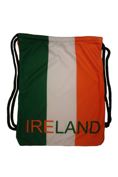 """IRELAND COUNTRY FLAG DRAWSTRING KNAPSACK BAG ..SIZE : 14"""" X 8"""" INCHES .. NEW AND IN A PACKAGE"""