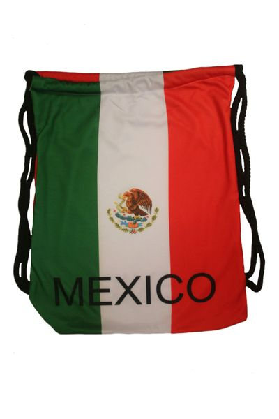 """MEXICO COUNTRY FLAG DRAWSTRING KNAPSACK BAG ..SIZE : 14"""" X 8"""" INCHES .. NEW AND IN A PACKAGE"""
