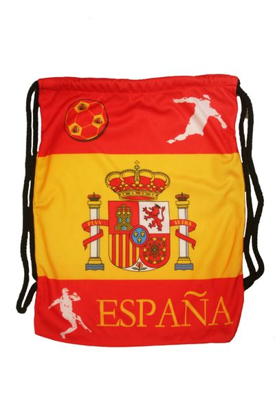 """SPAIN COUNTRY FLAG DRAWSTRING KNAPSACK BAG ..SIZE : 14"""" X 8"""" INCHES .. NEW AND IN A PACKAGE"""