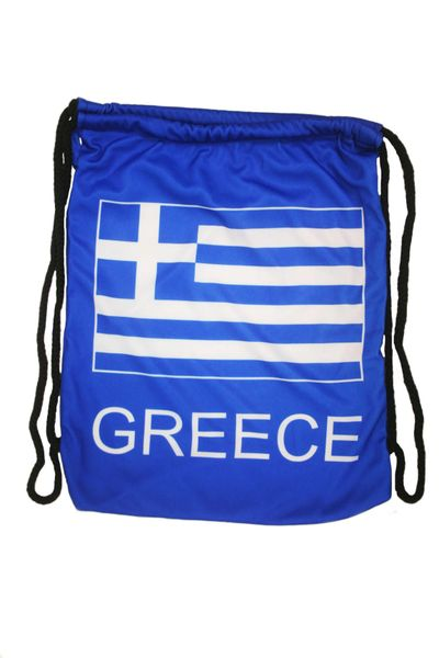 """GREECE COUNTRY FLAG DRAWSTRING KNAPSACK BAG ..SIZE : 14"""" X 8"""" INCHES .. NEW AND IN A PACKAGE"""