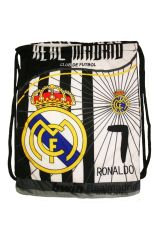 "REAL MADRID LOGO SOCCER DRAWSTRING KNAPSACK BAG ..SIZE : 14"" X 8"" INCHES .. NEW AND IN A PACKAGE"