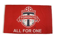 F.C. TORONTO LOGO ALL FOR ONE RED 3' X 5' FEET FLAG BANNER