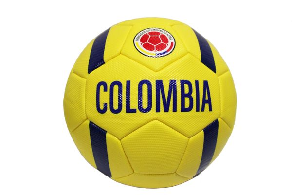 COLOMBIA Yellow , Blue Stripes , Federacion Colombiana De Futbol Logo FIFA World Cup SOCCER BALL ..Size 5