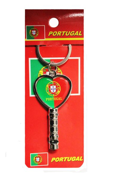 """PORTUGAL Country Flag HEART Shape Metal KEYCHAIN & WHISTLE..Size : 2.5"""" x 1.2"""" Inch.."""