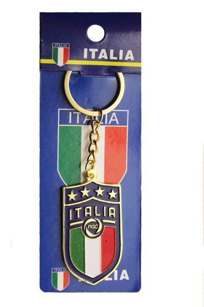 "ITALIA ITALY 4 Stars , FIGC Logo FIFA World Cup Metal KEYCHAIN .. Size : 1.1"" x 2"" inch"