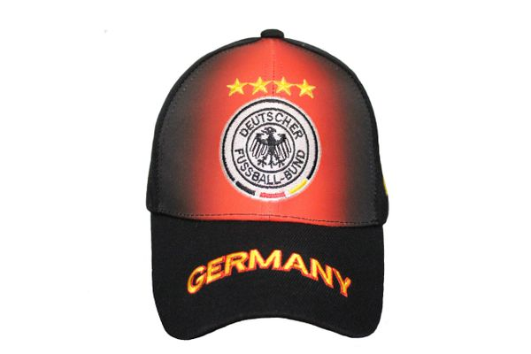 GERMANY Black - Red , 4 STARS DEUTSCHER FUSSBALL - BUND Logo FIFA WORLD CUP EMBROIDERED HAT CAP