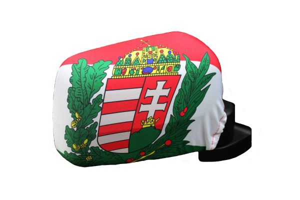 HUNGARY With Crest Country Flag CAR MIRROR COVER