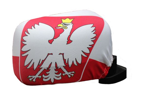POLAND With EAGLE Country Flag CAR MIRROR COVER