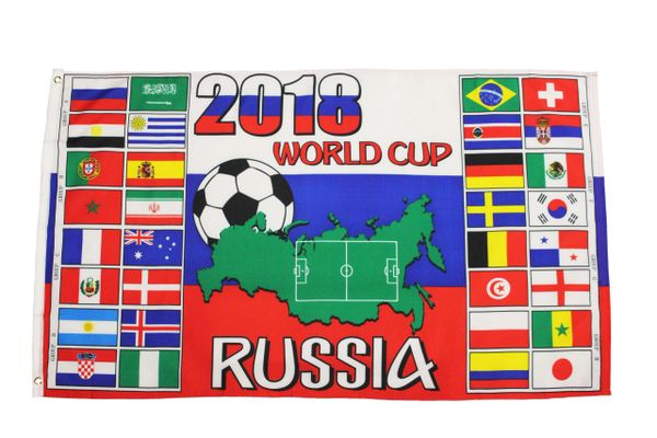 RUSSIA , FIFA World Cup 2018 - COUNTRIES Flags Large 3' x 5' Feet Flag Banner