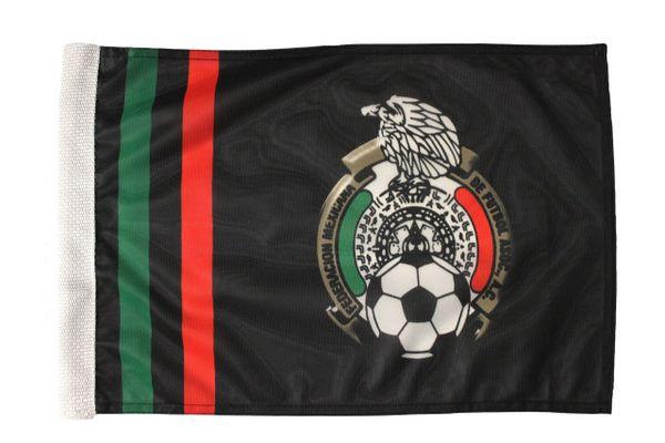 "MEXICO Black Federacion Mexicana De Futbol Asoc , Heavy Duty 12"" x 18"" Inch CAR Flag With Sleeve Without Stick"