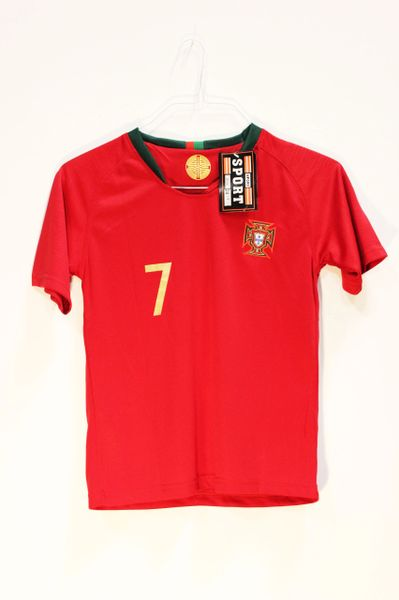 PORTUGAL Red RONALDO #7 FPF Logo FIFA World Cup JERSEY Set : T-SHIRT & PANTS
