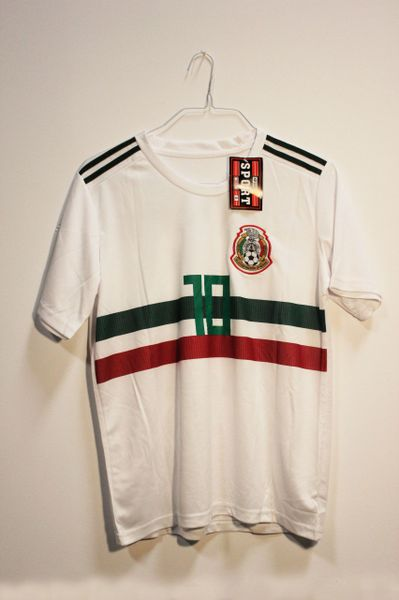 MEXICO White With Stripes #10 G.DOS SANTOS.. FIFA World Cup JERSEY Set : T-SHIRT & PANTS