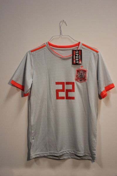 SPAIN Grey #22 ISCO.. FIFA World Cup JERSEY Set : T-SHIRT & PANTS