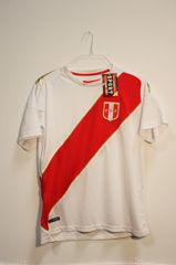 PERU White With Red Stripe FPF Logo FIFA World Cup JERSEY Set : T-SHIRT & PANTS