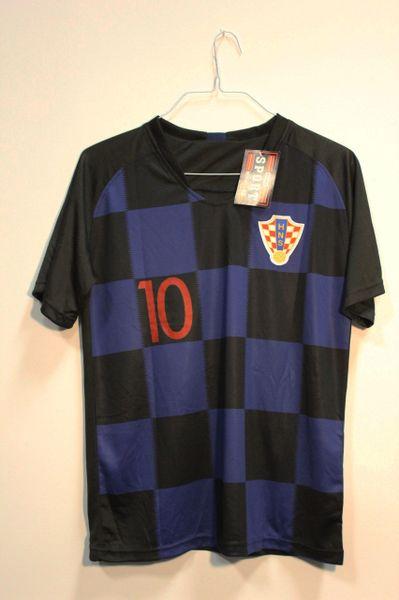 CROATIA Black Blue MODRIC #10 HNS Logo FIFA World Cup JERSEY Set : T-SHIRT & PANTS