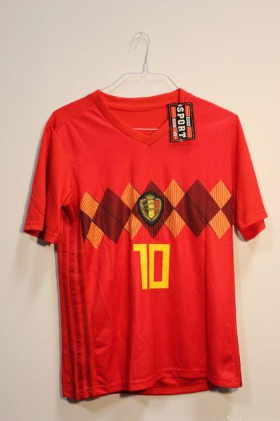 BELGIUM Red E. HAZARD #10 URBSFA KBVB Logo FIFA World Cup JERSEY Set : T-SHIRT & PANTS