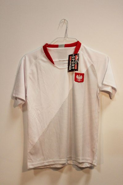 POLAND White With Stripes & EAGLE FIFA World Cup JERSEY Set : T-SHIRT & PANTS