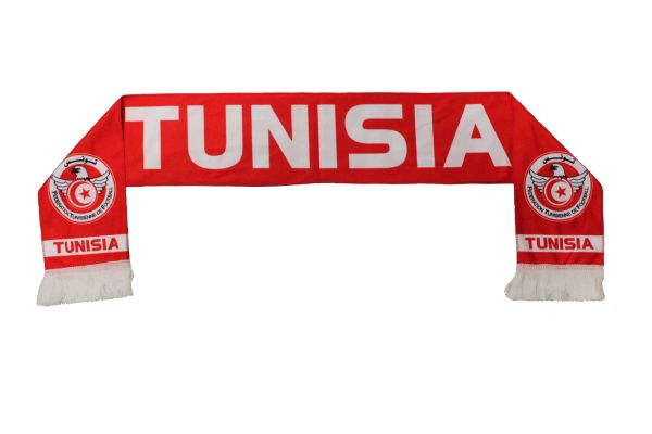 TUNISIA , Federation Tunisienne De Football Logo FIFA World Cup WARM THIN CRASHED FLEECE SCARF