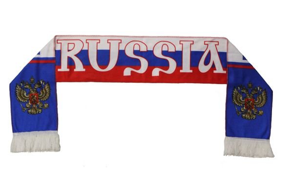 RUSSIA Country Flag With EAGLE , FIFA World Cup WARM THIN CRASHED FLEECE SCARF