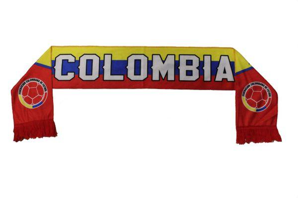 COLOMBIA Country Flag , Federacion Colombiana De Futbol Logo FIFA World Cup WARM THIN CRASHED FLEECE SCARF