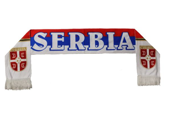 SERBIA Country Flag , SRBIJA Logo FIFA World Cup WARM THIN CRASHED FLEECE SCARF