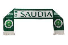SAUDIA SAUDI ARABIA , Saudi National Football Team Logo FIFA World Cup WARM THIN CRASHED FLEECE SCARF