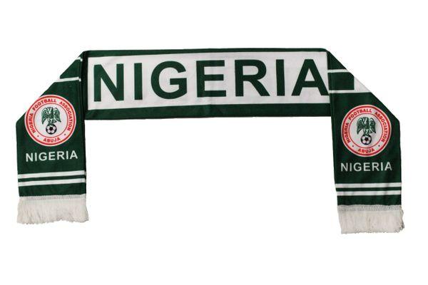 NIGERIA , NIGERIA FOOTBALL ASSOC. Logo FIFA World Cup WARM THIN CRUSHED FLEECE SCARF