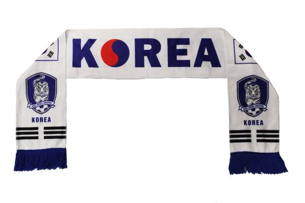 KOREA ( SOUTH ) Country flag , KOREA FOOTBALL ASSOC. Logo FIFA World Cup WARM THIN CRUSHED FLEECE SCARF