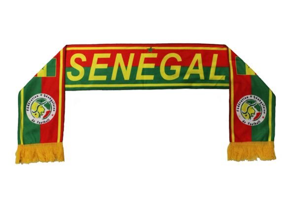 SENEGAL Country flag , Federation Senegalaise de Football Logo FIFA World Cup WARM THIN CRUSHED FLEECE SCARF