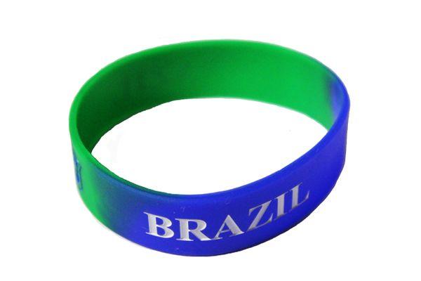 BRAZIL BRASIL Blue Green , CBF Logo FIFA World Cup SILICONE BRACELET WRISTBAND
