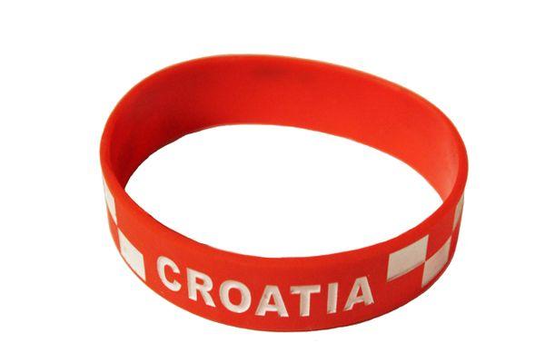 CROATIA Red, Country Flag Logo SILICONE BRACELET WRISTBAND