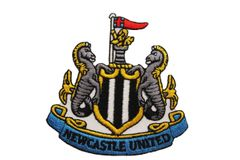 """NEWCASTLE UNITED FC Soccer EMBROIDERED Iron -On PATCH CREST BADGE .. Size : 2.6"""" X 2.75"""" Inch"""