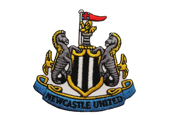 "NEWCASTLE UNITED FC Soccer EMBROIDERED Iron -On PATCH CREST BADGE .. Size : 2.6"" X 2.75"" Inch"