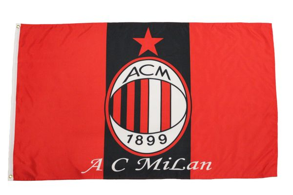 AC MILAN - BLACK AND RED WITH CLUB LOGO 3 X 5 FEET FLAG... NEW