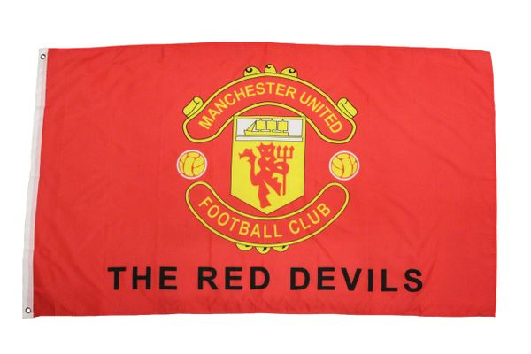 MANCHESTER UNITED - RED WITH CLUB LOGO 3 X 5 FEET FLAG... NEW