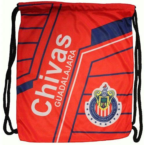 "CHIVAS ( Mexico ) Soccer Team DRAWSTRING KNAPSACK BAG .. Size : 14"" X 18"" Inch"