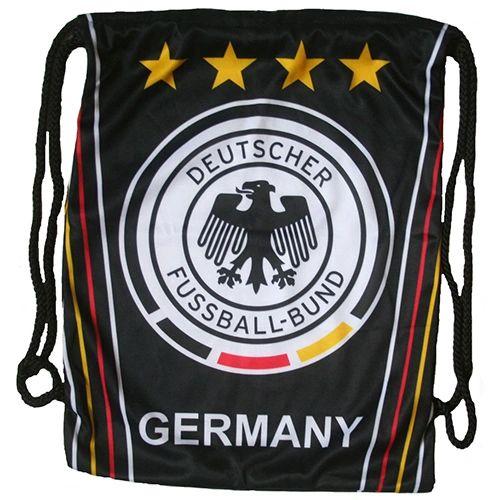 """GERMANY 4 Stars , DEUTSCHE FUSSBALL - BUND Logo DRAWSTRING KNAPSACK BAG .. Size : 14"""" X 18"""" Inch"""
