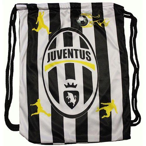 """JUVENTUS Soccer Team Logo DRAWSTRING KNAPSACK BAG .. Size : 14"""" X 18"""" Inch"""