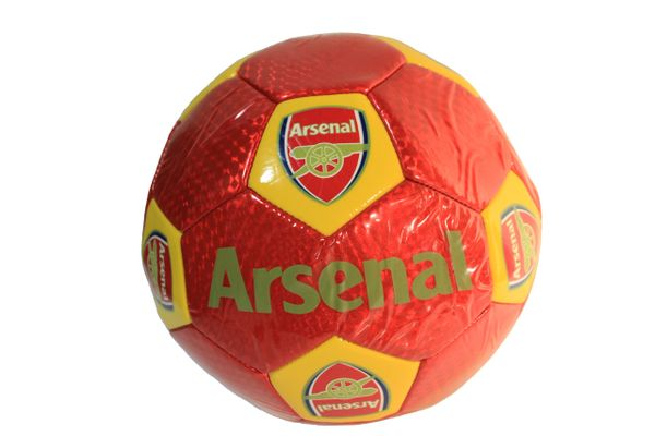 ARSENAL / PREMIER LEAGUE , ENGLAND / WHITE WITH RED STRIPES SOCCER BALL SIZE 5.. NEW AND IN A PACKAGE