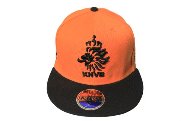 NETHERLANDS Country Flag , KNVB Logo SNAPBACK Embroidered HIP HOP Hat Cap ..Logo' Colors : Black , Orange