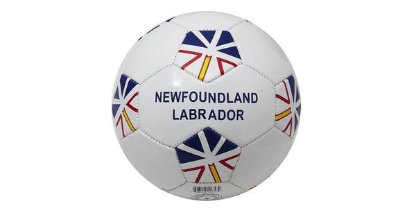NEWFOUNDLAND & LABRADOR WHITE PROVINCIAL FLAG SOCCER BALL SIZE 5 .. NEW AND IN A PACKAGE