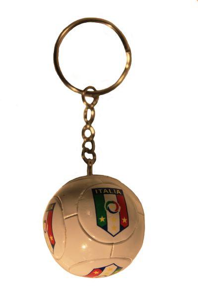 ITALIA FIGC LARGE 4 Stars Logo Soccer BALL KEYCHAIN