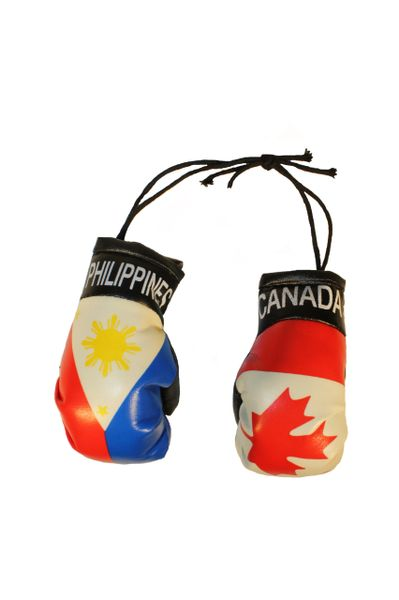 CANADA & PHILIPPINES Country Flags Mini BOXING GLOVES