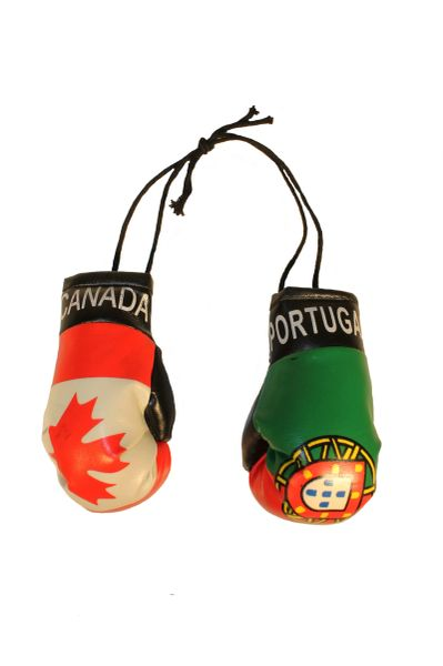 CANADA & PORTUGAL Country Flags Mini BOXING GLOVES
