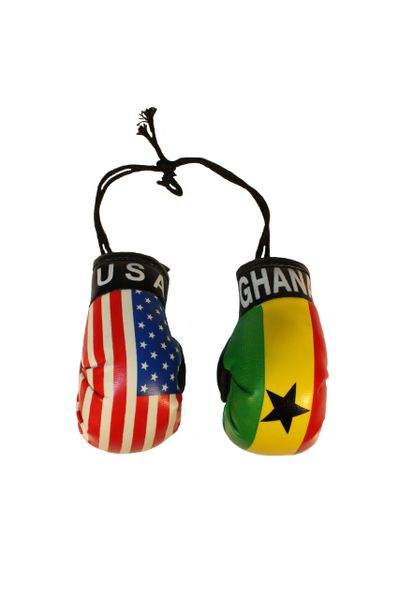 USA & GHANA Country Flags Mini BOXING GLOVES