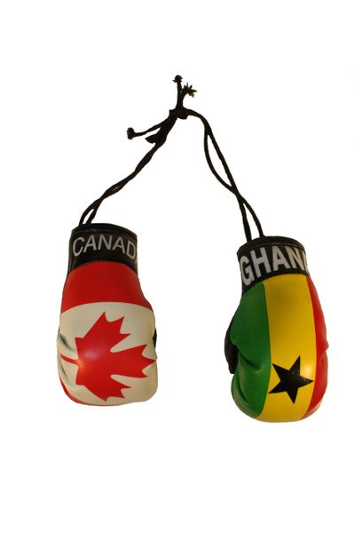 CANADA & GHANA Country Flags Mini BOXING GLOVES